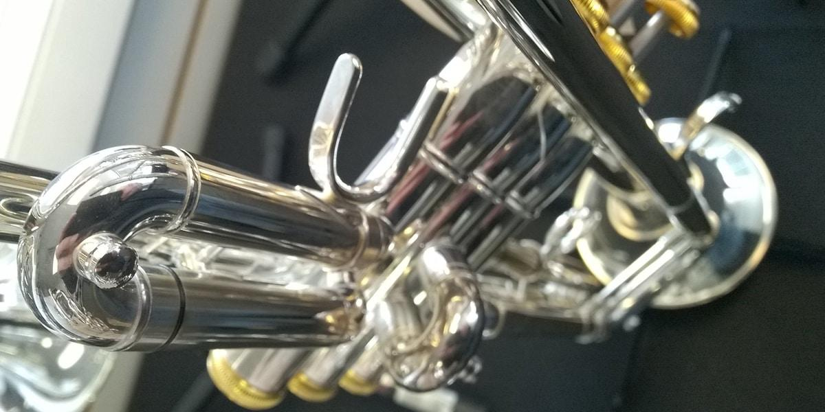 A trumpet slide stuck in the instrument